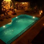 Night view of pool from room