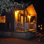 Creekside Queen Cabin at night