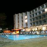 Hotel pool area at night