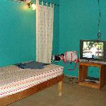 twin bed and tv