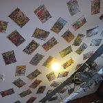 Comic books decorate the ceilings along with interesting odds and ends.