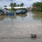 El dia que llovio mucho se inundo todo el estacionamiento, el agua nos llegaba a los tobillos