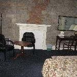 Back of room- sitting area and fireplace