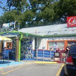 The view of Chuy's as you are driving down Barton Springs in Austin