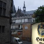 View from our room, looking right--note hotel sign and Cologne Cathedral