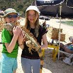 My daughters with Iguana on Yelapa beach