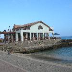 Restaurant and walled beach