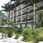 Room balconies overlooking pool