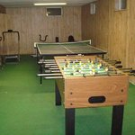The game room and exercise equipment.