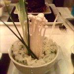 Funky mushrooms in bowl of rice.
