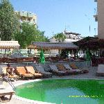 The pool area - normally blue water but turned a strange shade of green!