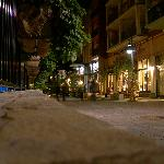 one of the village streets at night