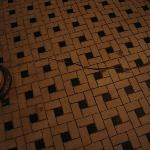 Dirty and cracked bathroom floor tile