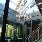 Outside Chandelier from Inside Hotel