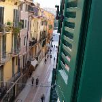 The view up Via Mazzini to Piazza Bra from the window of room 10