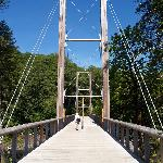 Suspension bridge at center