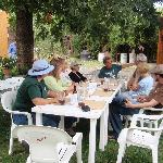 Our group, dining under the pecan tree