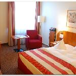 View of the room when entering...note the mushy pillows