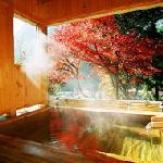 秋の檜風呂