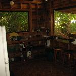 The kitchen of the Teak Cabin