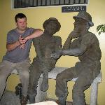 Arguing with some of the locals at the Hotel Don Carlos