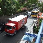 View from 2nd floor balcony to busy road