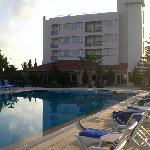 Back of hotel, swimming pool