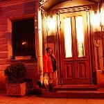 hotel door at nite