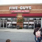 Front exterior of Five Guys in Lynchburg