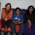 Here I am with the hostel manager and her son
