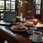 In the restaurant- time for breakfast.