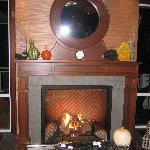 Nice cozy fireplace in the bar/lounge area