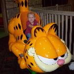 my 3 yr old riding garfield