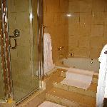 Bath shower and spa tub.