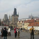 Charles Bridge facing the B&B; Palace in the background