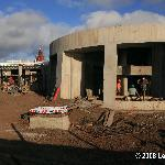 Construction workers hard at work on the New Hotel Hangaroa on Easter Island.