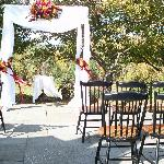Terrace set up for a wedding