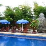 poolside with faux angkor ruins