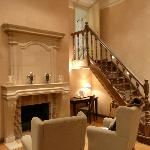 Fireplace and stairs to bathroom