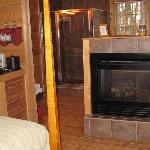 fireplace in our cabin