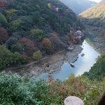 Cruise boat comes down here, Arashiyama, Kyoto