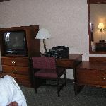 Hampton Inn Birch Run-- Jacuzzi Room TV-Desk Area
