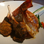Closeup of the Lobster and Steak