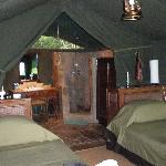 The inside of our tent