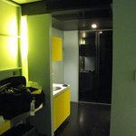 More Yellow light -black area is the closet which was poorly lit.