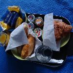 Breakfast with bread rolls