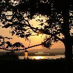 Blick von der Terasse auf die Bucht von Boltimore