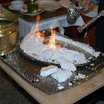 Salt encrusted sea bass on fire!