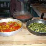 Classic tomato, courgette & mixed pepper sauces.