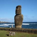 Solitary Moai Beside Pacific Ocean
